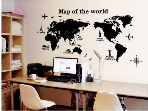 Home Decor Decals Poster House Wall Stickers Quotes Removable Vinyl Large Wall Sticker For Kids Rooms Stickers World Map W-240 front-834574