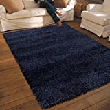 NEW THICK MODERN SHAGGY APOLLO RUG MIDNIGHT BLUE