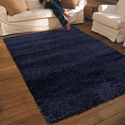 NEW THICK MODERN SHAGGY APOLLO RUG MIDNIGHT BLUE 1.2M X 1.6M