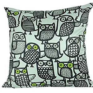 Decorative Pillow Cover Model : Black & White Owl Polyester Decorative Pillow Cover: Amazon.co.uk: Kitchen & Home