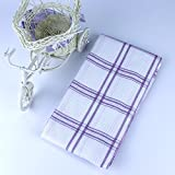 Ieasycan 12 PACK Classic Kitchen Towels, 100% Natural Cotton, 20 x 28, Commercial Restaurant Grade, Herringbone Weave Dish Cloth, Absorbent and Lint-Free, Machine Washable, White with Purple Stripe