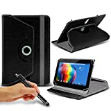 Toshiba Excite Pro ( Black ) Tablet Luxury 360° Rotating PU Leather Wallet Spring Stand Skin Case Cover & Capacitive Touch Stylus Pen by ONX3