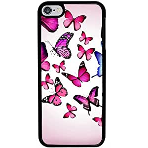 Casotec Flying Butterfly Colorful Design 2D Hard Back Case Cover for Apple iPod Touch 6th Generation - Black