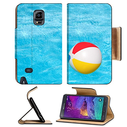 Flip Pu Leather Wallet Case Samsung Galaxy Note 4 MSD Premium Inflatable colorful ball floating in the swimming pool IMAGE 30213623