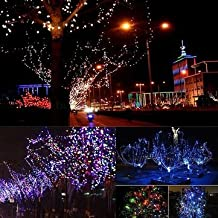 10M 100 LED Solar Powered Copper Wire Ambiance String Fairy Light +2m Down-lead-Pink