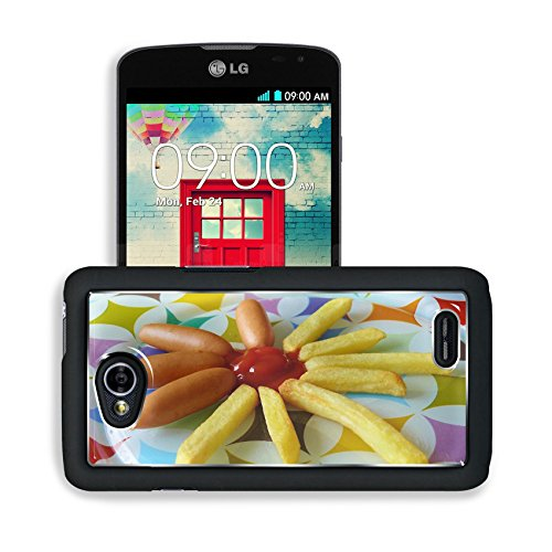 Luxlady Premium LG Optimus L70 Dual Aluminum Backplate Bumper Snap Case French Fries Sausage Ketchup Eat Image 498104 (Lg Optimus L70 Case French Fries compare prices)