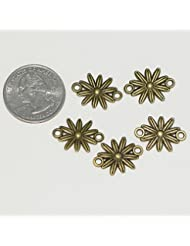 10 X Flower Charms Connector Beads 15mm Antique Bronze Tone For Charms Bracelet Necklace Jewelry Findings #MCZ454