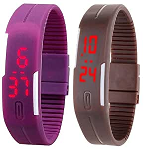 HPD Led Band Watch Combo of 2 Purple And Brown For Boys, Girls, Men, Women