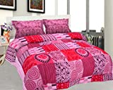 BeautifulHOMES Mejestic Cotton Double Bedsheet With 2 Pillow Cover - Red and Pink