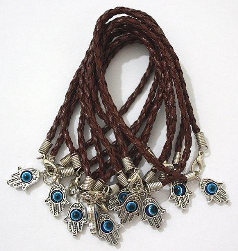 10 X Leather Hamsa Shamballa Friendship Bracelet Evil Eye Charm Hand Of Fatima Brown Silver Pendant