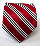 100% Silk Woven Red Striped Tie