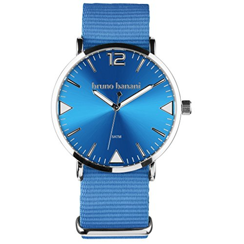 Bruno Banani Homme Montre bracelet + Charm Fée-Textile/Nylon-Bracelet Femme Bleu à Quartz Cadran Bleu ubr30053