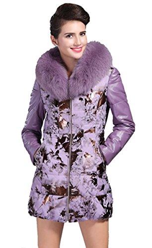 E-Girl Graceful Printing Schafspelz, echtem Leder unten Mäntel ,Mehrfarbig