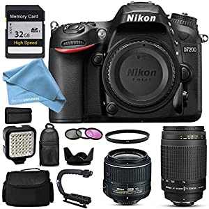 Nikon D7200 Exclusive Pro Package with Two Lenses - Nikon 70-300 G , 18-55, 32Gb SD Memory Card, Camera Case, Action Bracket and Much more