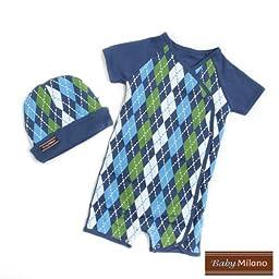 Blue Argyle- Hat & Body Suit