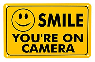 "Smile You're On Camera Rust Free Outdoor Waterproof Fade Resistant UV Protective Ink Video Surveillance Security Sign Yellow and Black Video CCTV 11""x 7"" by Lanpar Inc"