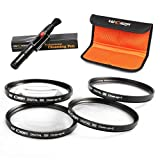 K&F Concept 72mm Macro Close-up +1 +2 +4 +10 Lens Accessory Filter Kit for Canon 7D 60D 70D 500D for Nikon D7000 D600 D300 D800 D7100 for Sony A77 NEX 5 DSLR Cameras + Cleaning Pen + Filter Bag Pouch