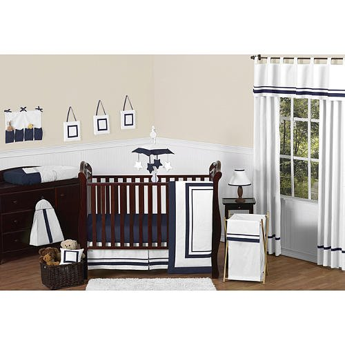 Navy And White Crib Bedding 4967 front
