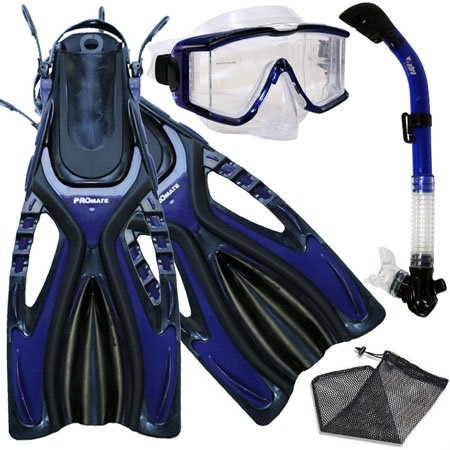PROMATE Snorkeling Scuba Dive SIDE-VIEWED PURGE Mask Fins Dry Snorkel Gear Set, Blue, MLXL