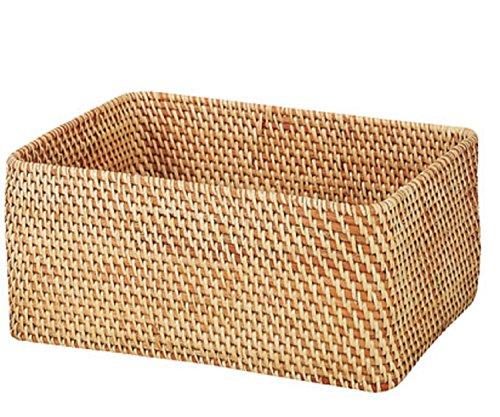 無印良品 重なるラタン長方形バスケット 幅36×奥行26cm (中)