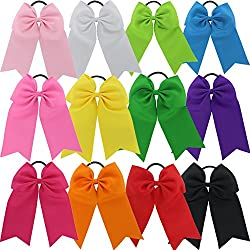 CHIFFON 6in Larger Cheer Bows Cheerleading Set of 12 Color