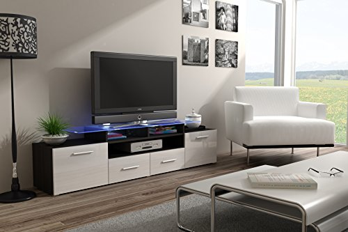 ENEA GRAND with top Glass Shelf Tv Stand - High Gloss Tv Cabinet / Design Furniture / Central Tv Unit (Wengue & White) (Long Tv Unit compare prices)