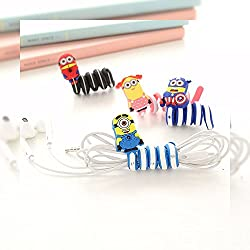 House of Quirk 8PCS Free Shipping Minions Earphone Winder Cable Cord Organizer Holder for IPhone I pad Mp5 Multi-styles Minions cartoon style Earphone Cable Wire Cord Organizer Holder Winder For Headphone Wire Storage.