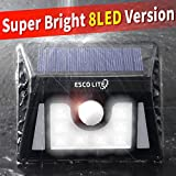 Escolite Solar Lights Power Security Light 8 LED Garden Decor Emergency Outdoor Indoor Landscape Lighting Wireless with Motion Sensor for Path Walkway Step Patio Garage Deck Yard White Waterproof