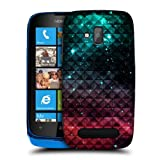 Head Case Designs Sparkling Red and Blue Studded Ombre Hard Back Case Cover for Nokia Lumia 610