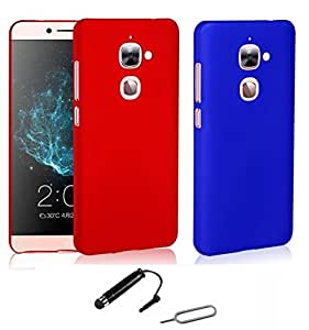 TCA Matte LeEco Le2 Le 2 Rubberized Finish Hard Case Cover For LeTV LeEco Le2 - Cherry & Blue (Pack Of 2) With Mini Stylus + Eject Pin