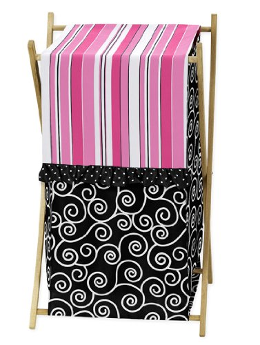 Baby/Kids Clothes Laundry Hamper For Sweet Jojo Designs For Pink And Black Madison Bedding front-224245