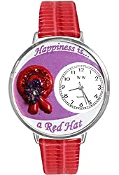 Red Hat Red Leather And Silvertone Watch #WG-U0470007