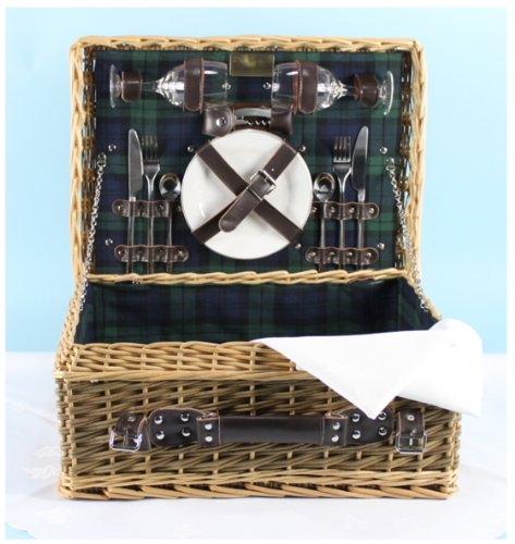 The USK CLASSIC DE LUXE 2 Person Green Willow and Buff Willow Picnic Hamper with ceramic plates, wine glasses, stainless steel cutlery, bottle opener and white tablecloth and napkins