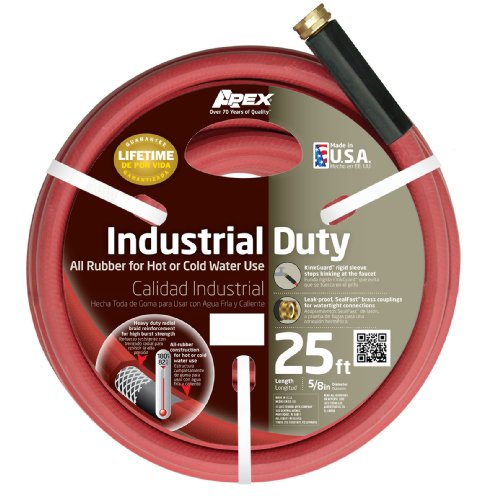Apex 8695-25 Commercial 5/8-Inch by 25-Feet All Rubber Hot Water Hose, Red (Hot Water Hose Red compare prices)
