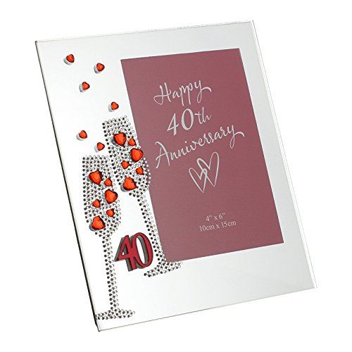 "Widdop Bingham & Co Ltd WG45440 - Portafoto in vetro, motivo: nozze di rubino, dimensione 7,5"" x 6,5"""