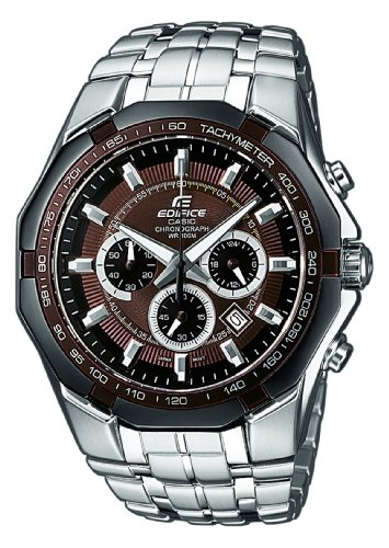 Casio Edifice EF-540D-5AVEF Men's Analog Quartz Watch with Chronograph and Steel Bracelet, Brown