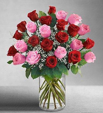 Valentine's Day 1800Flowers - Ultimate Elegance Long Stem Pink & Red Roses -...