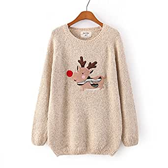 Omine women s christmas deer funny loose sweater jumper top ivory at