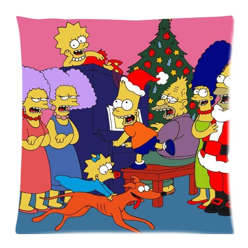 Simpsons giorno di Natale Custom Zippered Cuscino Copre federe 45,7 x 45,7 cm (2 lati)