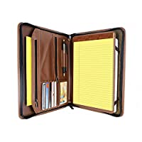 KHOMO Brown Executive PadFolio Case with Notepad Holder and Pockets for iPad 2,3,4, iPad Air, iPad Air 2 and iPad Pro 9.7 inch by KHOMO