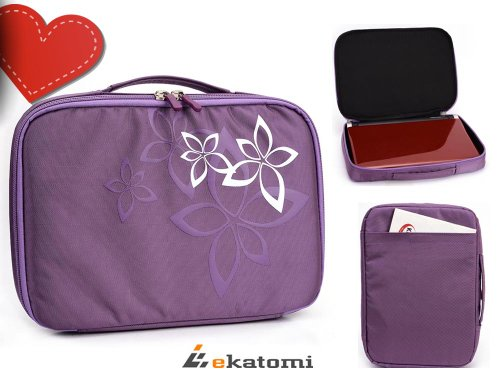 "9-Inch Rca Drc99390 Portable Dvd Player. Universal 9"" - 10"" Case Bag - Purple Floral Print. Bonus Ekatomi Screen Cleaner"