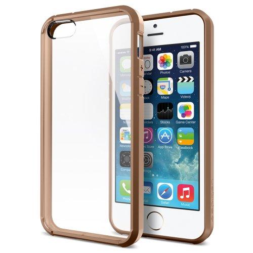 国内正規品 Spigen iPhone 5s / 5 ケース ウルトラ・ハイブリッド クリア バンパー (エアクッションテクノロジー) (日本製 液晶保護 フィルム付) [カフェ・ブラウン]SGP10575