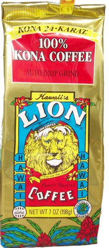 Lion 24 Karat 100% Kona Coffee Ground 7 Oz Bag (Pack Of 12)
