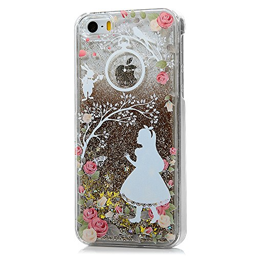 iPhone SE Case,iPhone 5S Case,iPhone 5 Case,Mavis's Diary 3D Bling Flowing Liquid Moving Stars Flowers Girl Pattern Clear Transparent Case Hard PC Cover - Rose Girl with Golden Liquid and Golden Stars (Cool Animal Iphone 5 Cases compare prices)