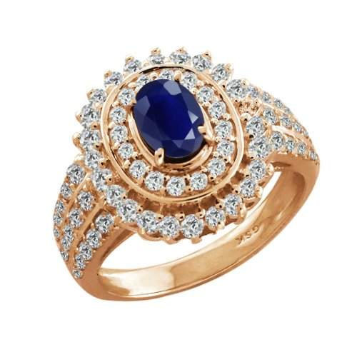 2.95 Ct Oval Blue Sapphire Rose Gold Plated Sterling Silver Woman's Ring