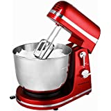 Ovente SM880R 6-Speed Professional Stand Mixer, 3.7 quart, Metallic Red