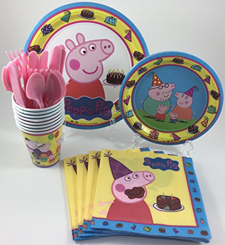 BashBox Peppa Pig Birthday Party Supplies Pack Including Cake & Lunch Plates, Cutlery, Cups & Napkins for 8 Guests