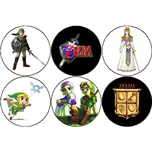 Set of 6 Legend of Zelda Pinback Buttons Pins