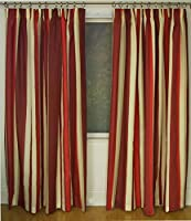 Mali Red Cotton Blend Lined 90x90 Striped Pencil Pleat Curtains #rtsrev *hc* by Curtains