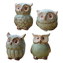 WOMHOPE® 4 Pcs - Mini House Warming Gift Wise Owls Figurine Tabletop Shelf Ceramic Wise Home Decorative Collectible Figurine Statues (Green)